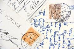 Handgeschriebene Postkarten der Weinlese Stockfotografie