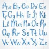 Handgeschriebene Skriptanschläge des rauen Bleistifts Auf Übungsbuch Stockfotografie