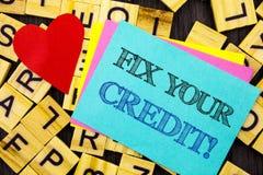 Handgeschriebene Textvertretung Verlegenheit Ihr Kredit Begriffsfoto schlechtes Ergebnis, das Avice Fix Improvement Repair geschr lizenzfreie stockfotografie