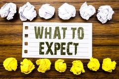 Handgeschriebene Textvertretung zu erwarten was Geschäftskonzept für Achieve Erwartung geschrieben auf die klebrige Anmerkung, hö Stockbild