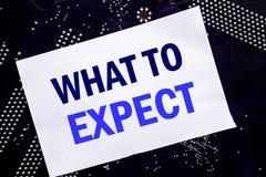 Handgeschriebene Textvertretung zu erwarten was Geschäftskonzept für Achieve Erwartung geschrieben auf klebrige Anmerkung, Haupta Stockfotos