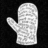 Handgeschriebene Wörter über den Winter, vereinbart in Form von Handschuh Lizenzfreie Stockbilder
