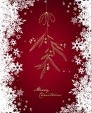Handgeschriebene Weihnachtsillustration mit hängendem Mistelzweig Stockbilder