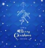 Handgeschriebene Weihnachtsillustration mit hängendem Mistelzweig Stockfoto