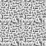 Handgeschriebene Weinlesetinte fasst nahtloses Muster des Vektors mit Tropfen ab Schwarze Zeichen beschriftung Stockfoto