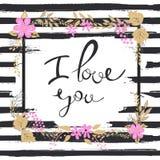 Handgeschriebener ich liebe dich Text Feld der Blumen Gestreifter Hintergrund Lizenzfreie Stockbilder
