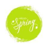 Handgeschriebener Phrase hallo Frühling mit Blättern und grüner Kreis bürsten Anschlaghintergrund vektor abbildung