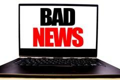Handgeschriebener Text, der schlechte Nachrichten zeigt Geschäftskonzeptschreiben für die Ausfall-Medien-Zeitung geschrieben auf  stockfoto