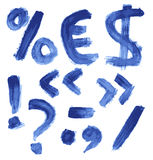 Handgeschriebenes blaues Aquarellalphabet Lizenzfreie Stockbilder