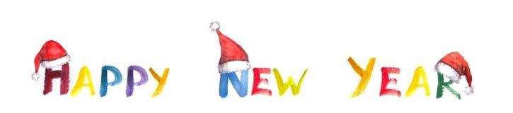 Handgeschriebenes guten Rutsch ins Neue Jahr mit Sankt-Hüten Stock Abbildung