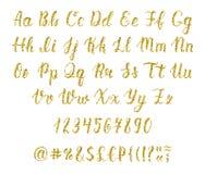 Handgeschriebenes lateinisches Kalligraphiebürstenskript mit Zahlen und Interpunktionszeichen Goldfunkelnalphabet Vektor lizenzfreie abbildung