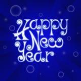 Handgeschriebenes Plakat des guten Rutsch ins Neue Jahr auf blauem Hintergrund Lizenzfreies Stockbild
