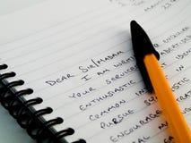 Handgeschriebenes Schreiben ein Zeichen Lizenzfreie Stockbilder