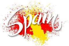 Handgeschriebenes Spanien Vektorbeschriftung Flagge von Spanien machte von der Farbe Lizenzfreie Stockfotos