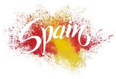 Handgeschriebenes Spanien Vektorbeschriftung Flagge von Spanien machte von der Farbe Stockfotos