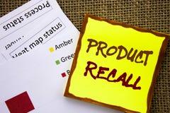 Handgeschriebenes Textzeichen, das Rückruf eines fehlerhaften Produktes zeigt Geschäftskonzept für Rückruf-Rückerstattungs-Rückke lizenzfreies stockbild