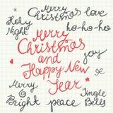 Handgeschriebenes Weihnachts- und des neuen Jahresbeschriftung lokalisiert auf weißem Hintergrund Lizenzfreie Stockfotos