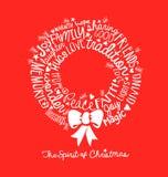 Handgeschriebenes Weihnachtskranzkarte Wort-Wolkendesign Lizenzfreie Stockbilder
