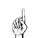 Handgest som pekar upp Det lyftta pekfingret Töm utrymme f Fotografering för Bildbyråer