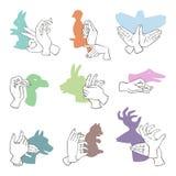 Handgeste mögen symbol- und Leutefingerzahlen Marionettenkopien-Freizeitschatten der unterschiedlichen Tierphantasie Theater vektor abbildung