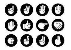 Handgesten Ikonen eingestellt Stockbild