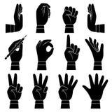 Handgestensammlung Mann und weibliche Armpalmen und -finger, die das geben zeigen, Notenholding-Vektorkarikatur nehmend lizenzfreie abbildung