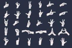 Handgester med textur för grungeprickskugga Siffrahandgester royaltyfri illustrationer