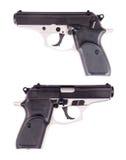 Handgewehr oder Pistole, Pistole, Waffe trennten Weiß Stockfotos