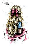 Handgezogene Frauenrückseite mit dem langen blonden Haar Nette Frisur mit Bogen Junges elegantes Modell mit langem Haarpferdeschw vektor abbildung
