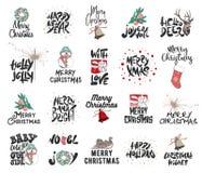 Handgezogene frohe Weihnachten und 2019 guten Rutsch ins Neue Jahr auf weißem Hintergrund Ausführliche Weinleseradierungszeichnun stock abbildung