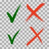 Handgezogene grüne Häkchen- und -Kreuzikonen vektor abbildung