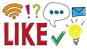 Handgezogene Ikonen und -symbole für Netz, bewegliche Anwendungen und Social Media Wie Knopf wi-FI-Signal, Spracheblase, Licht stock abbildung