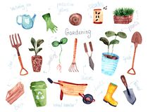 Handgezogene lokalisierte Entwurfs-Gartenbauelemente lizenzfreie abbildung