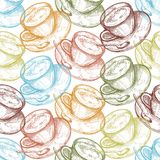 Handgezogene Nahrungsmittelnahtloses Muster, Schale des heißen Getränks lizenzfreie abbildung
