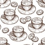 Handgezogene Nahrungsmittelnahtloses Muster, Schale des heißen Getränks, Haferplätzchen vektor abbildung