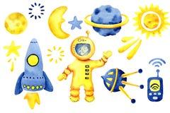 Handgezogene Raumelemente Raumaquarellsatz Karikaturweltraumraketen, Planeten, Sterne, Mond für Entwurfskindertagesstätte und Jun lizenzfreies stockfoto