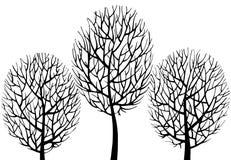 Handgezogene Schattenbilder von den Bäumen lokalisiert auf Weiß lizenzfreie stockfotografie