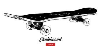 Handgezogene Skizze des Skateboards im Schwarzen lokalisiert auf weißem Hintergrund Ausführliche Weinleseradierungs-Artzeichnung vektor abbildung