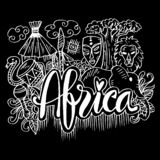 Handgezogene Symbole von Afrika lizenzfreie abbildung
