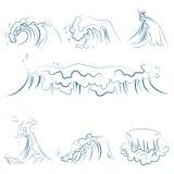 Handgezogene volumetrische blaue Linie Meereswellenvektorsatz Lokalisierte Vektorillustration des Ozeansturms Welle vektor abbildung