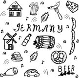 Handgezogener Gekritzel-Artsatz Deutschland-Elemente lizenzfreie abbildung