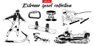 Handgezogener gravierter Skizzensatz extremer Sport lokalisiert auf weißem Hintergrund vektor abbildung