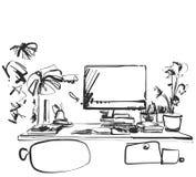 Handgezogener moderner Arbeitsplatz Stuhl- und Computerskizze vektor abbildung