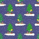 Handgezogener netter Schneemann auf einer Wolke mit den Geschenken, die heraus von hinten einen Weihnachtsbaum spähen Nahtloses V lizenzfreie abbildung
