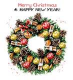 Handgezogener netter Weihnachtskranz mit Bändern, Bällen, Kiefernkegeln, Mandarinen, Zimtstange und Bogen Schöner Nobilistannenkr lizenzfreie abbildung