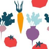 Handgezogener Satz mit Gemüse Nahrung lizenzfreie abbildung