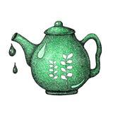 Handgezogener Satz mit Teeelementen Kessel, Teekanne für den Entwurf der Fahne, Druck, Aufkleber, Menüplakatcafé stock abbildung