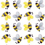 Handgezogenes Aquarell Honey Bee Seamless Pattern f?r die Kartenherstellung, -papier, -gewebe und -druck stock abbildung