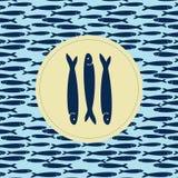 Handgezogenes dunkelblaues Farbmuster von Sardellenfischen und Gruppe blaue Sardellen auf gelbem Kreis vektor abbildung