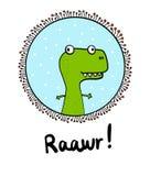 Handgezogenes Minimalismusdinosaurier t rex Reptil in einem Rahmen für Druckplakat-Fahnen nettes illustation mit Beschriftung stock abbildung